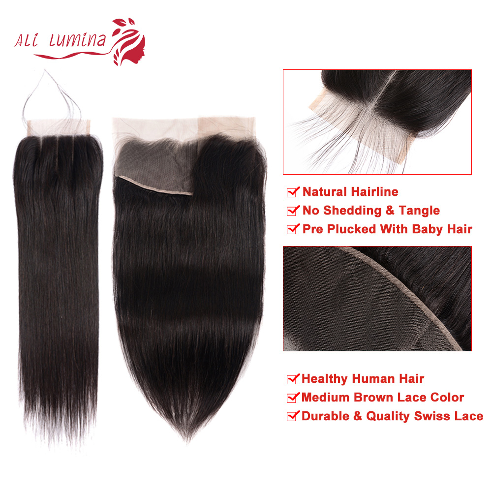 13x4 4x4 2x6 Lace Frontal  100% Human   Hair Natural Hairline Free/Middle/Three Part Lace Closure 2