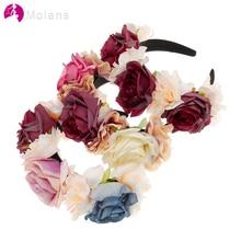 MOLANS женский свадебный цветок невесты корона ручной работы искусственный цветочный обруч для волос обруч для девочек аксессуары для волос художественная фотография