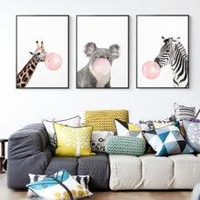 Настенная картина с изображением жирафа зебры медведя розового