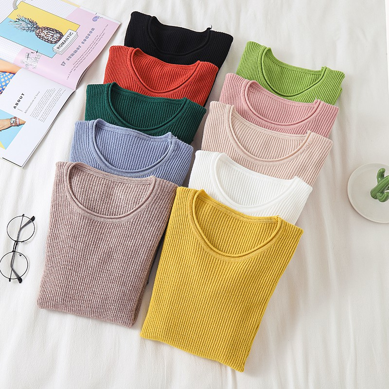 Women Fashion Casual Sweater Autumn Knitted Top Round Neck Slim Bottoming Shirt Sweaters