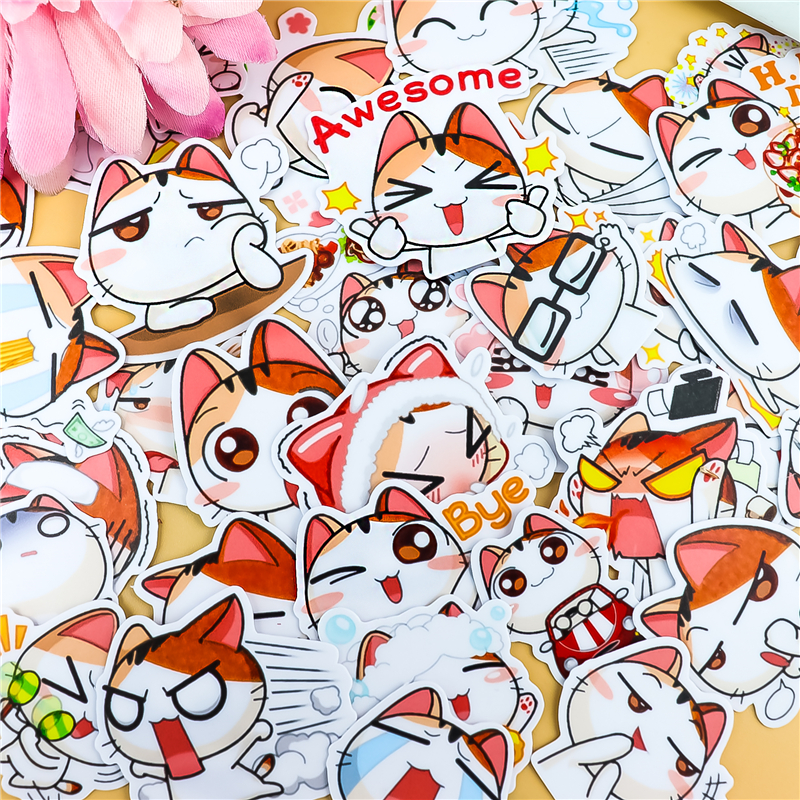 Stickers 40pcs Cute Orange Cat Sticker For Luggage Skateboard Phone Laptop Moto Bicycle Wall Guitar/DIY Scrapbooking Waterproof