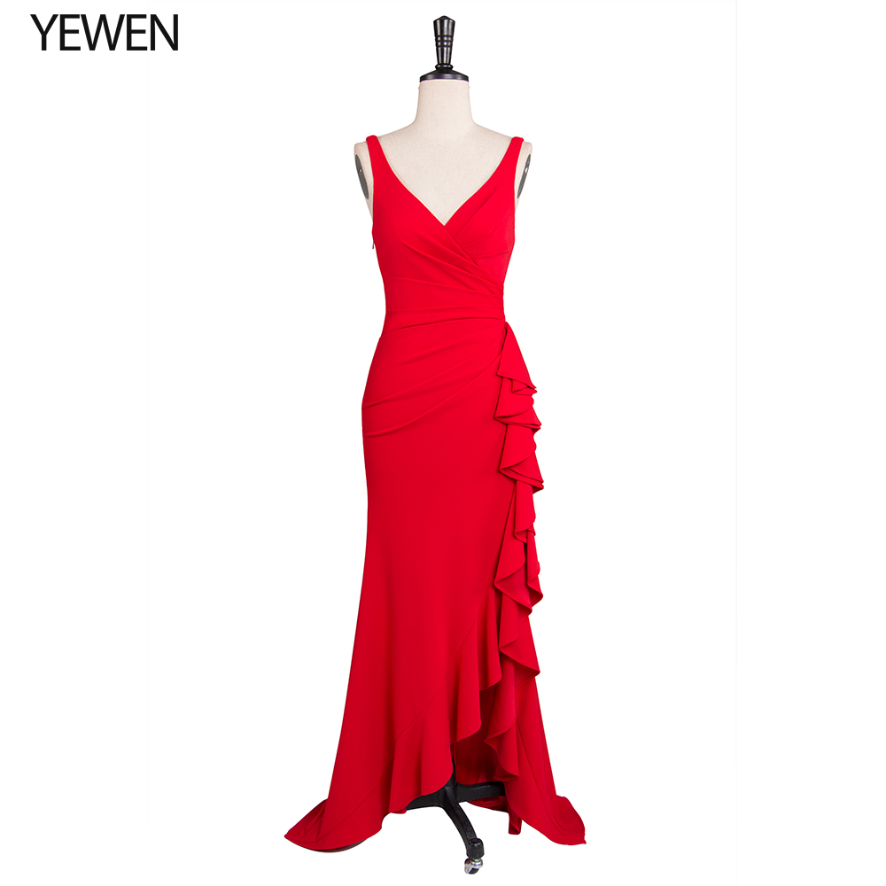 Red Ruffles Christmas Evening Dresses Stretch Asymmetrical Double V-Neck Sleeveless Sexy Formal Gowns Prom Dress Abendkleider
