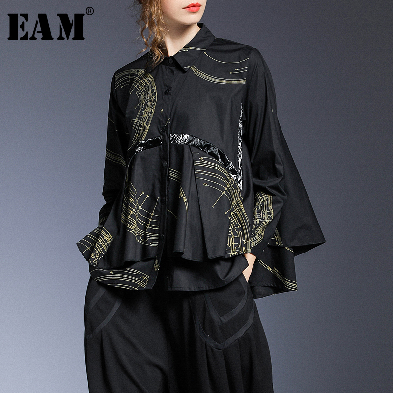 [EAM] Women Prined Double Layer Big Size Blouse New Lapel Long Sleeve Loose Fit Shirt Fashion Tide Spring Autumn 2020 1R876