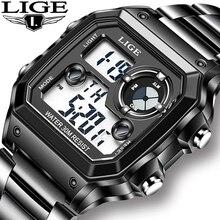 2021 LIGE New Fashion Electronic Watch Men Sport Waterproof Date Alarm Wristwatch Mens Watches Top Brand Luxury Chronograph+Box