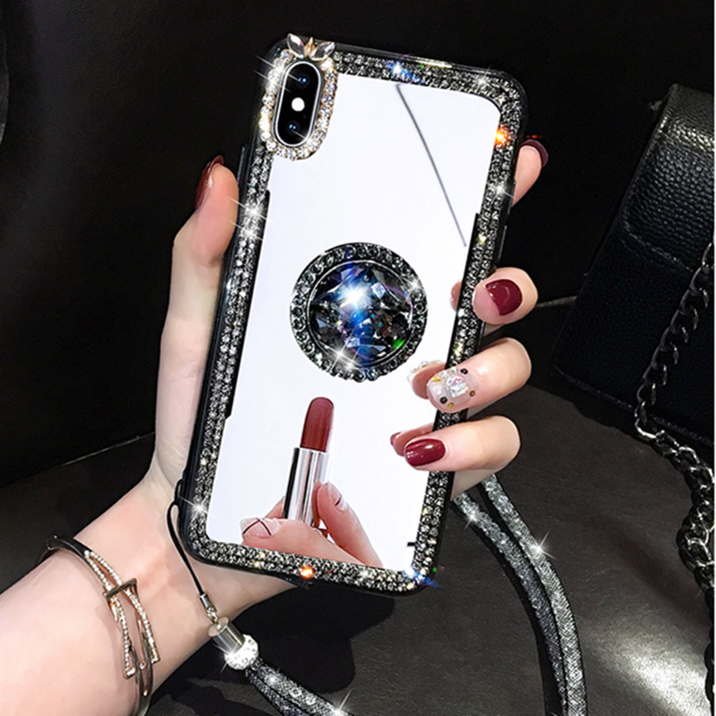 Mirror Rhinestone Makeup Women Case For Xiaomi Mi 10 Plus Mi9 Pro 6X 5X F1 A1 A2 Redmi 6 Pro 4A Glitter Diamond Finger Ring Case
