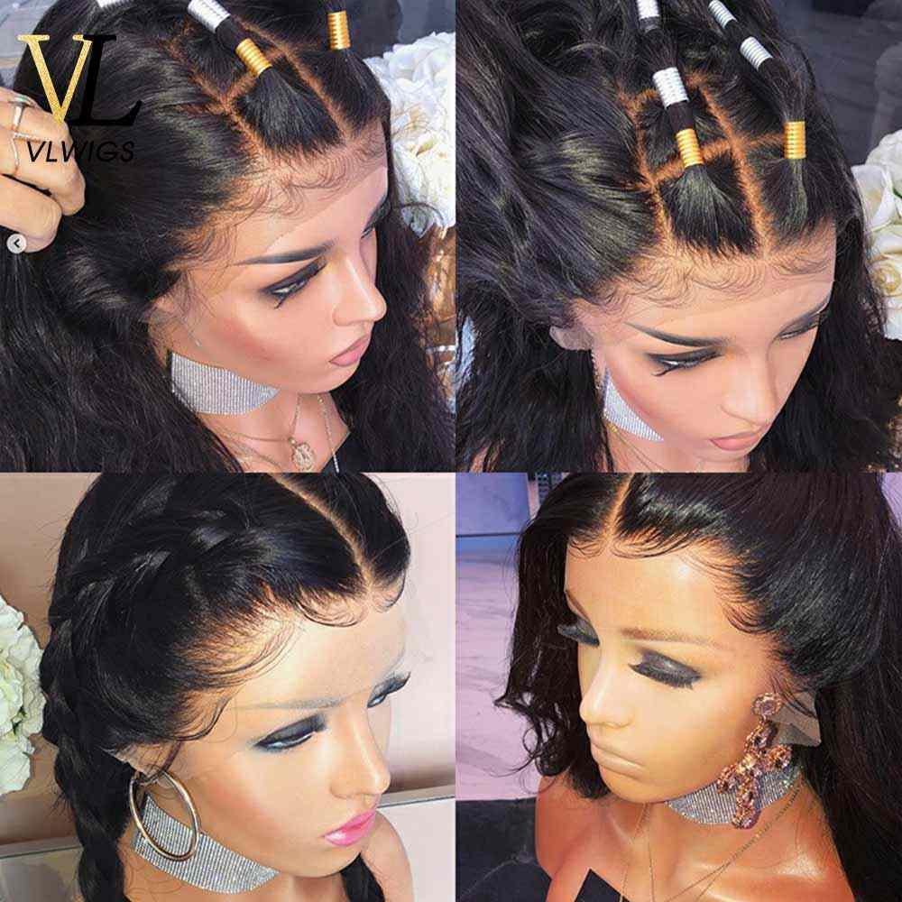 Vlwigs peruca dianteira do laço onda profunda 360 perucas frontal do laço humano pré arrancado com o cabelo do bebê em torno do cabelo remy virgem malaio vl49