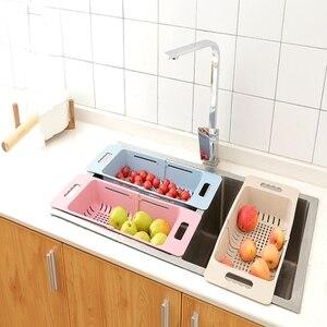 Image 4 - Kitchen Adjustable Sink Dish Drying Rack Organizer Sink Drain Basket Vegetable Fruit Holder Storage Rack 48*18.5*8cm