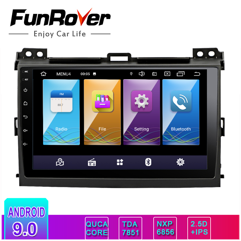 Funrover 2.5D+IPS android 9.0 car dvd multimedia player for Toyota Prado 120 Land Cruiser 2004-2009 Car Radio GPS Navigation