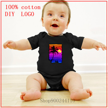 2020 Summer Infant Newborn Baby Boys Girls Cotton Bodysuits baby Sunset Palm Trees new born baby boy clothes 3 to 6 months image