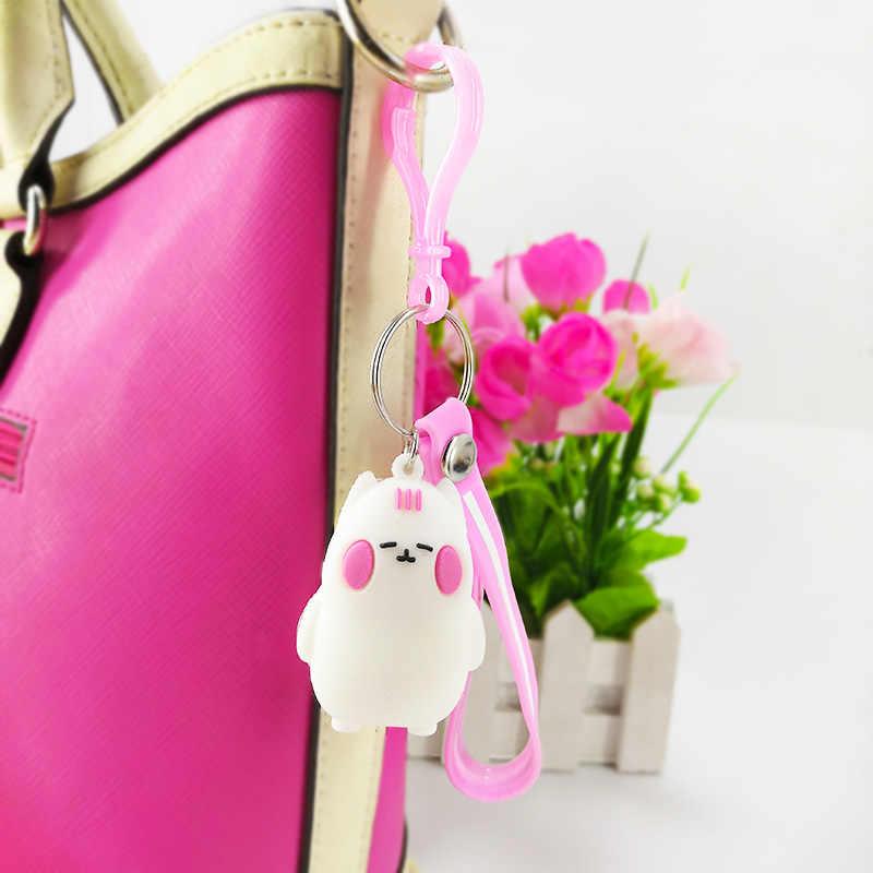 Креативный мультфильм новый ПВХ большая белая игрушка на кольцо для ключей подвеска Ms. bag Автомобильный ключ украшения детский подарок на день рождения