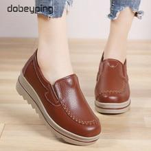 الخريف النساء الشقق الأحذية منصة أحذية رياضية الأخفاف حذاء كاجوال النساء الزواحف الانزلاق على الشقق جلد طبيعي السيدات المتسكعون