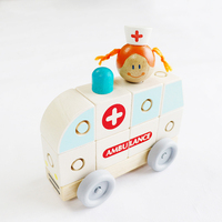 Wooden Assembled Puzzle Building Blocks Ambulance Classic Mini Car Kids Toys with Buckles birthday gift game educational