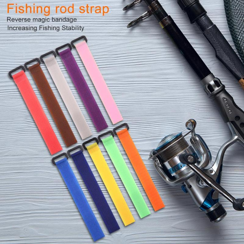 10pcs Fishing Rod Tie Strap Suspenders Fastener Hook Loop Ties Belt Black