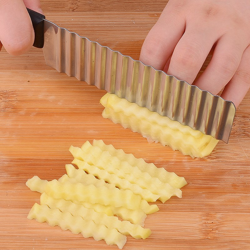 Potato French Fry Cutter Wave Crinkle Cutter Stainless Steel Serrated Blade Slicing Vegetable Fruit Slicer Kitchen Tool