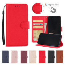 Untuk Samsung Galaxy A3 A5 A7 A6 A8 A9 PLUS 2016 2017 2018 Magnetic Case Kulit Flip Dompet Penutup tas Telepon(China)