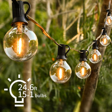 24.6ft luz da corda de fadas g40 led globo festa guirlanda luz da corda branco quente 15 clara lâmpadas do vintage decorativo quintal ao ar livre