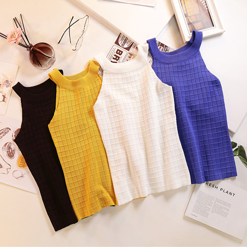 2020 Summer Fresh Tank Top Fashion Free Vintage Sexy All-Match Slim Knitted Knitted Basic Crop Top Off Shoulder Sexy Tops