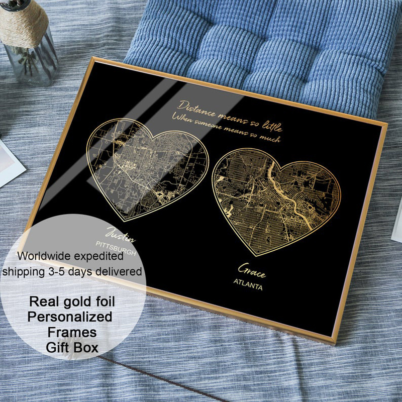 long distance boyfriend gift, long distance relationship gifts for him, custom real gold foil two city maps print, best gift(China)