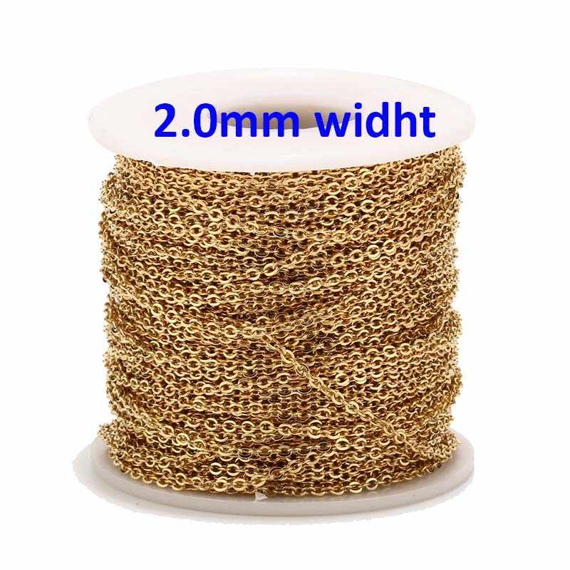 2 מטרים נירוסטה עלה זהב/זהב קישור שרשרת שרשרת בתפזורת כבל 2mm רוחב עבור תכשיטי ביצוע ממצאים אספקת DIY