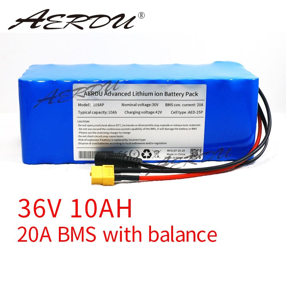 Aerdu 36v 10ah 10s4p 600w 18650 li-ion bateria para fiido d1 d2 m365 pro scooter estendido faixa dc552 + xt60 plug com 20a bms