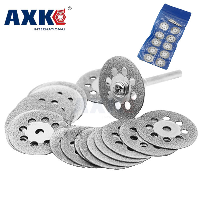 New 10Pcs 22mm Mini Sharp Diamond Cut Off Rotary Tool Cutting Disc Disks DIY Tools Accessories For Dremel With 2Pcs Rod DT017