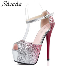 Shoche Red High Heels Women Bling Fashion Pumps Platform Shoes For Party Wedding Ladies Peep Toe Pump Shoes Purple Blue Heel цена 2017