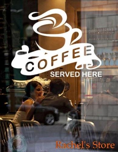 Great Coffee Served Here Cafe Coffee Shop Window Door Vinyl Decal Sticker Sign