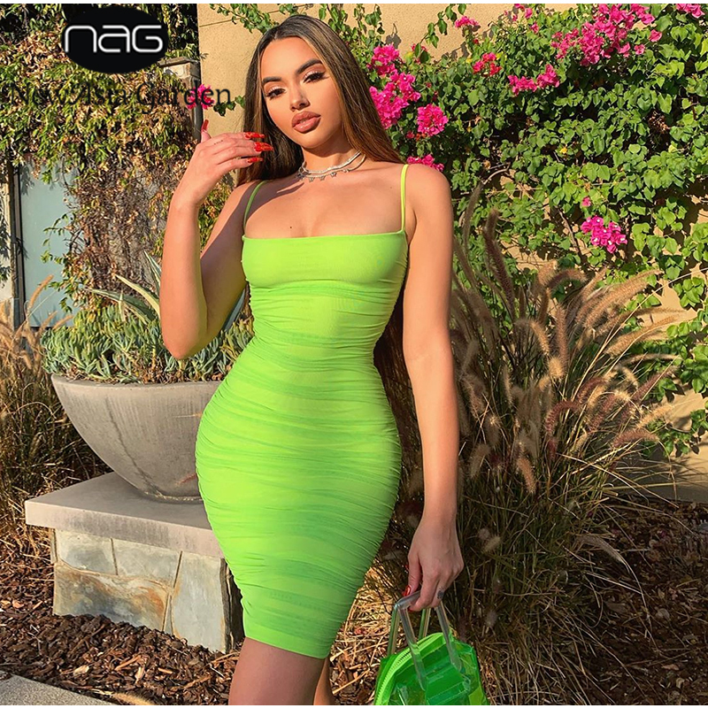 NewAsia Double Layers Mesh Dress Women Sexy Spaghetti Straps Bodycon Club Dress Woman Party Night Knee Length Dress Summer 2019