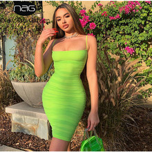 NewAsia Double Layers Mesh Dress Women Sexy Spaghetti Straps Bodycon Club Dress Woman Party Night Knee Length Dress Summer 2019(China)