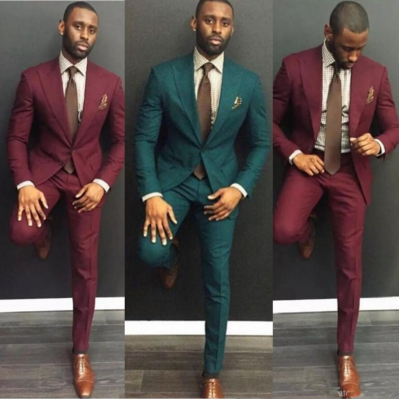 Men Suits Classy Burgundy Wedding Suits Slim Fit Bridegroom Tuxedos Two Pieces Groomsmen Suit Formal Business( Jackets+Pants)