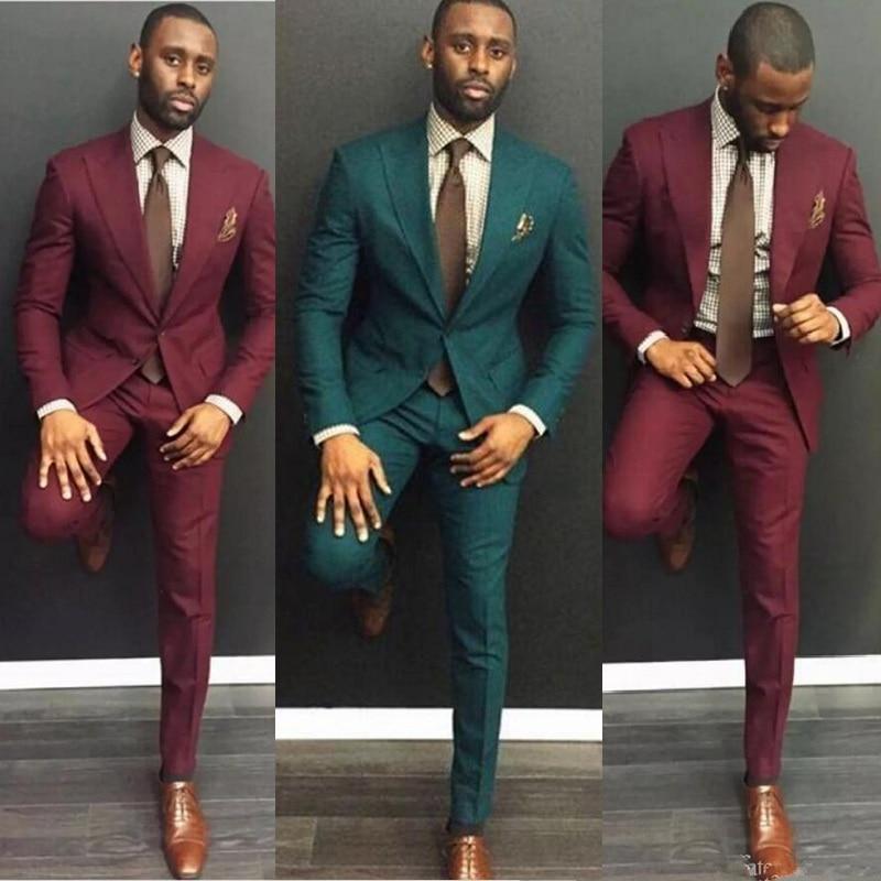 Men Suits Classy Burgundy Wedding Suits Slim Fit Bridegroom Tuxedos Two Pieces Groomsmen Suit Formal Business( Jackets+Pants)