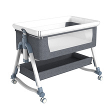 Portable Portable Baby Crib Foldable Height Adjustment Stitching Bed Baby Cradle Bed Baby Crib  Baby Beds  Baby Bassinet