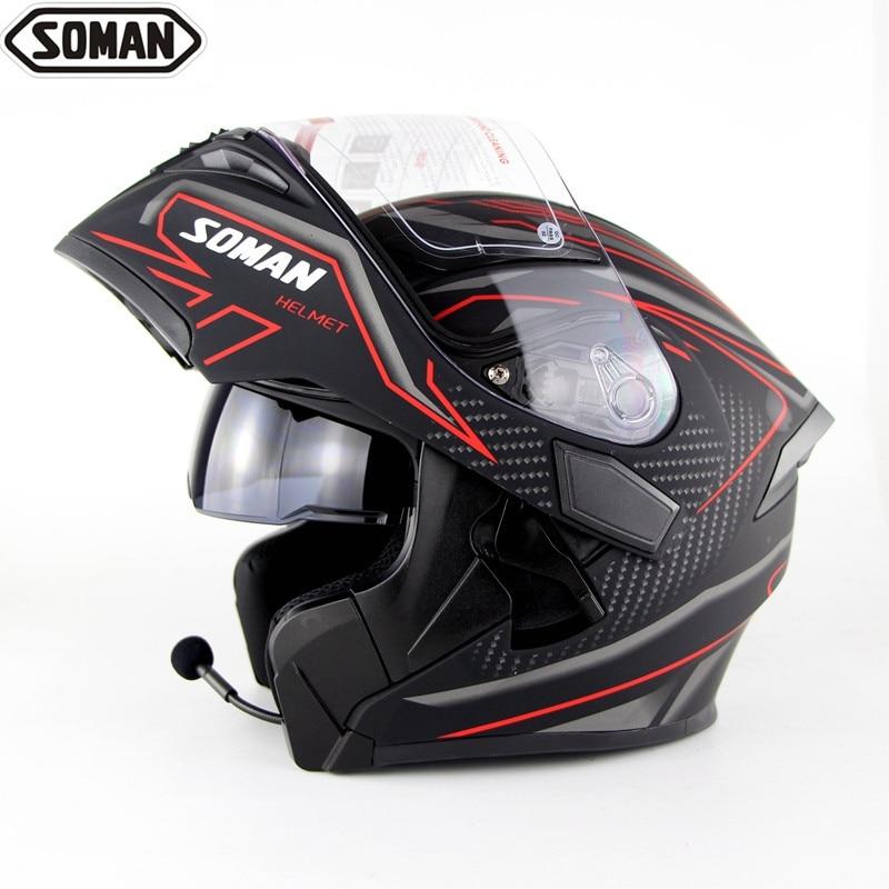 Зоман Fullface Bluetooth гарнитура Casco Abs емкости Para Moto двойной козырек Casco Capacete Bluetooth шлемы для езды на мотоцикле
