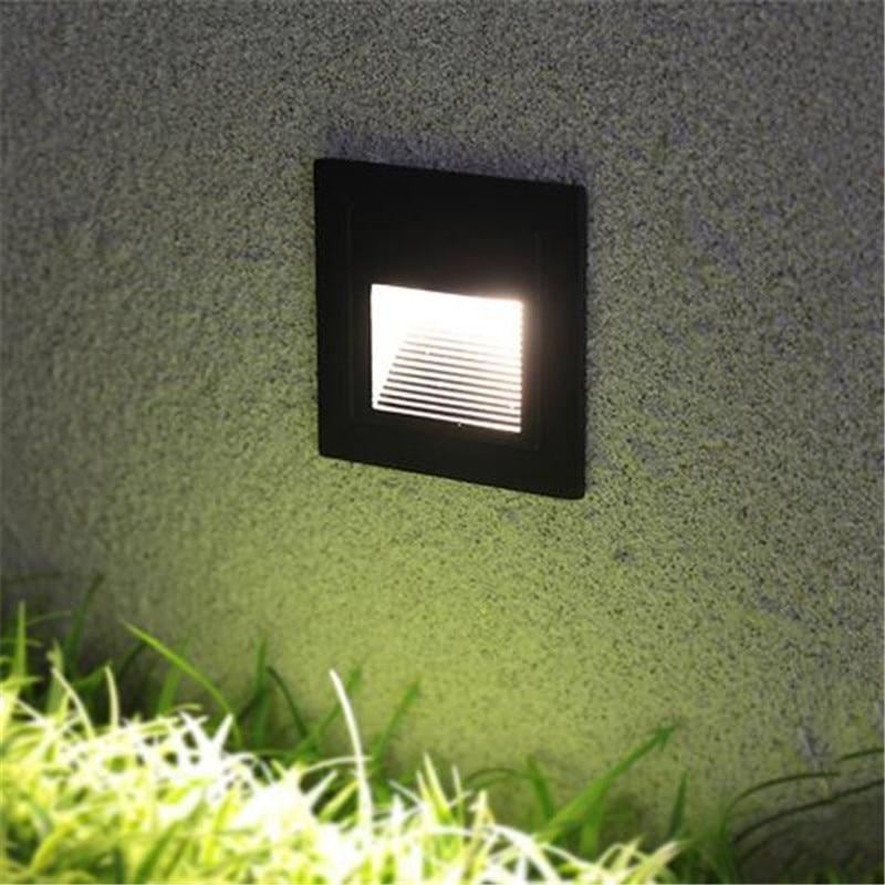 86*86mm Recessed Led Stair Light Waterproof  Square Step Lights Outdoor Indoor Aluminum Wall Corner Lamp Footlights Hallway Lamp