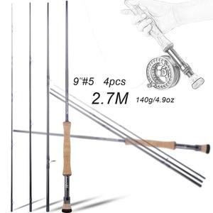 "Image 4 - Sougayilang 2.7M Fly fishing Rod Fly 9""#5  4 Section EVA / Metal Handle Carbon Fiber Fly Fishing Rod Lake River Fishing Tackles"