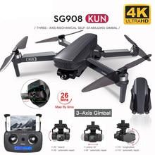 2021 novo zangão de gps sg908 com 4k hd câmera 3-axis cardan wifi fpv profesional dobrável quadcopter distância 1.2km vs sg906 max