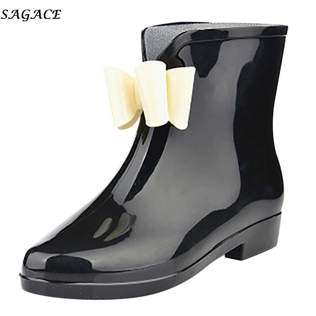 SAGACE nuovo Scarpe Da Pioggia Donne PVC Caviglia Stivali Da Pioggia di Modo di Usura Anti-skid-resistente di Acqua di Fondo Stivali di Alta top Impermeabile Scarpe