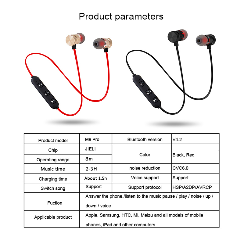 M9 Bluetooth Wireless Headphone Sport Stereo Magnet Earbuds With MIC Earphone Headset For Iphone Huawei Xiaomi Redmi note 8 pro 6