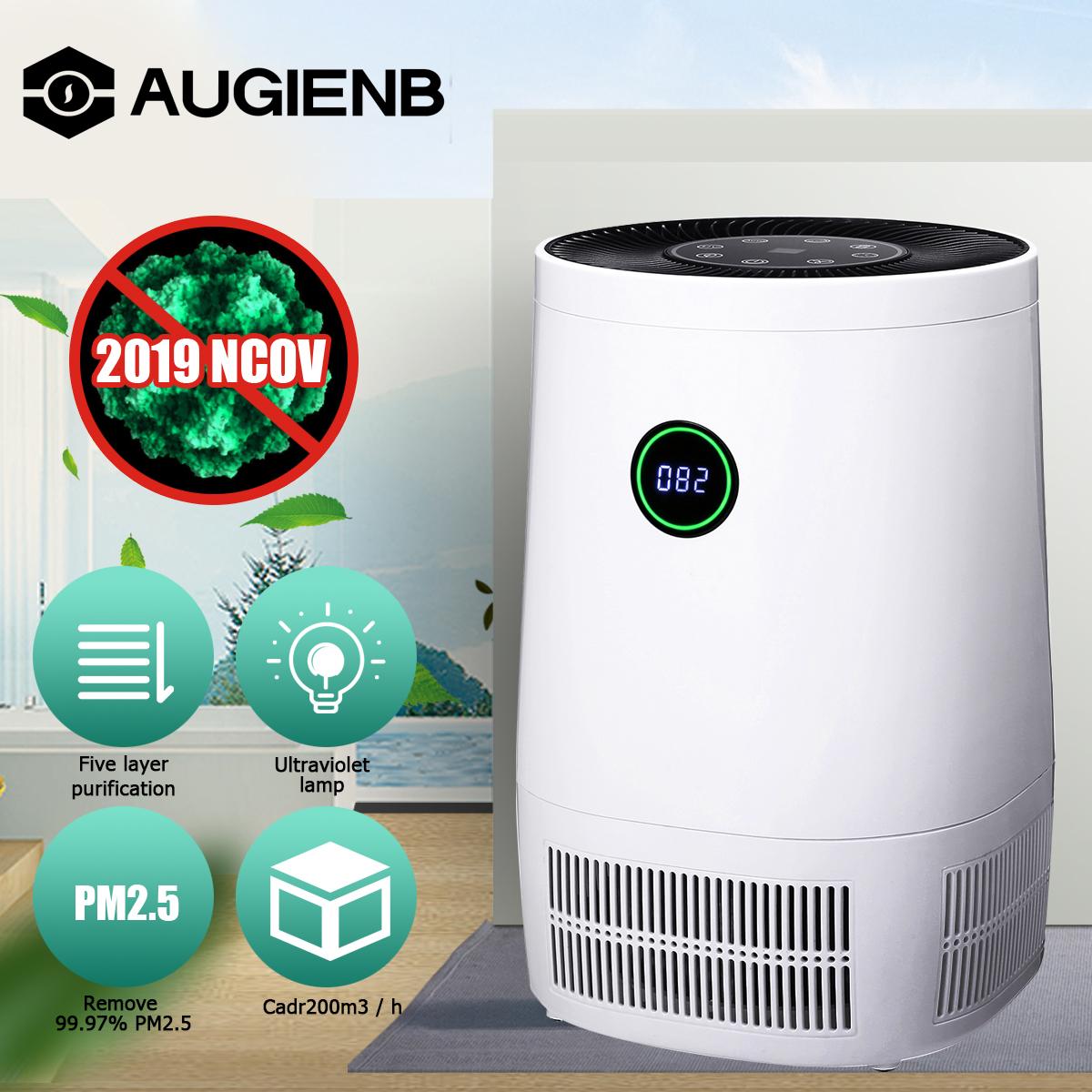 AUGIENB Car Air Purifier Ionic Activated Carbon Filter Remove Dust Pollen HEPA