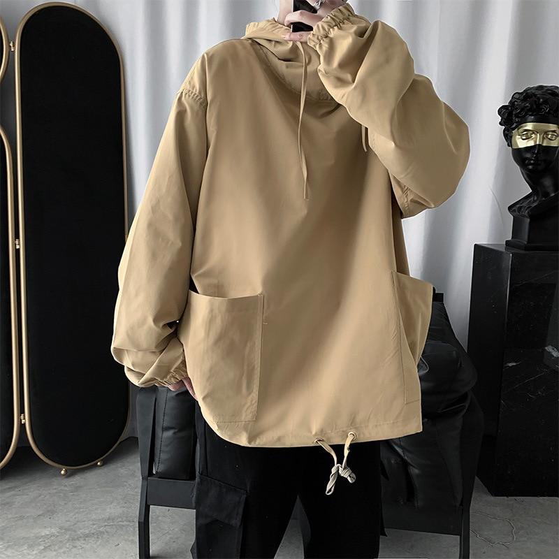 Hoodie Men Plus Size Loose Solid Hooded Sweatshirt Ulzzang Hoodies Mens Korean Fashion Streetwear Students Sweatshirts Pockets