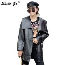 Abrigo de cuero genuino Turn Down Collar botón frontal con cinturón abrigo Reversible mujeres otoño Casual Plaid abrigo largo