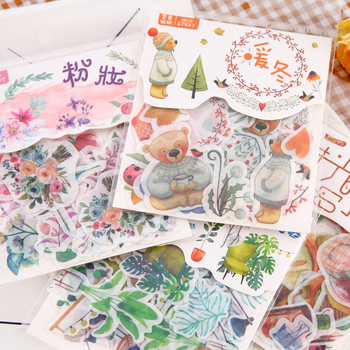 40 pieces/bag 24 designs D diary stickers scrapbook section warm winter series Japanese cute creative stationery gifts - discount item  24% OFF Stationery Sticker