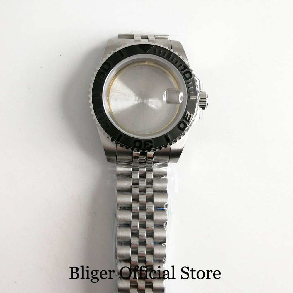 Stainless Steel 40mm Men Watch Case with Brushed Bezel Fit ETA 2836 MIYOTA Movement