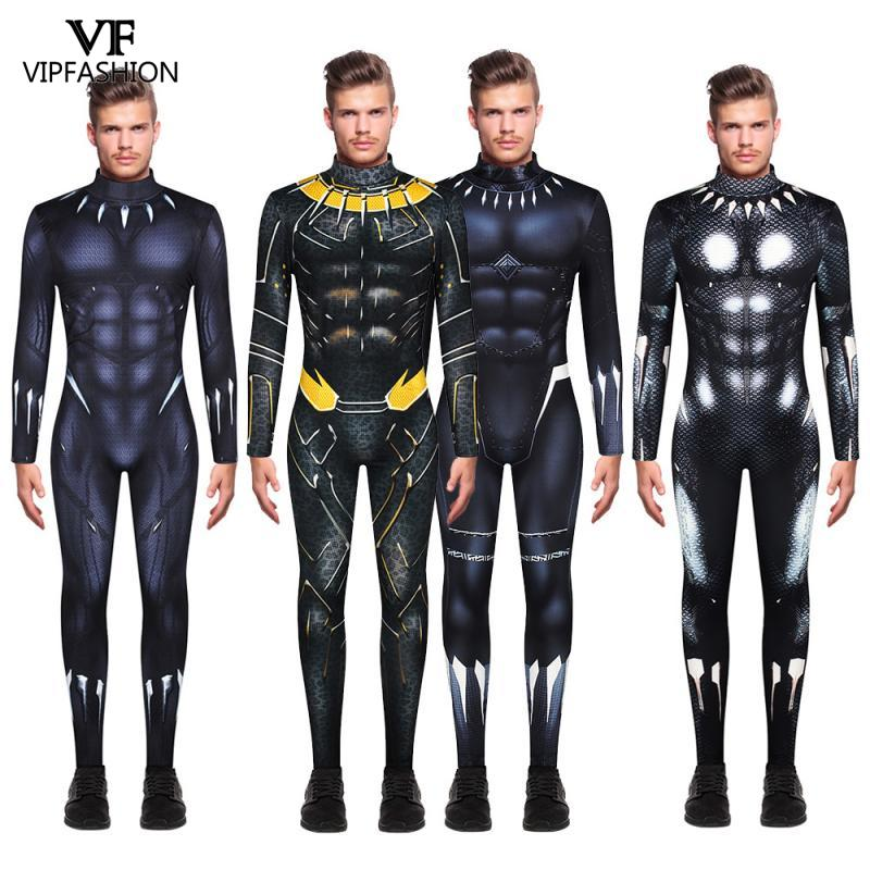 VIP FASHION Classic Cosplay Costume For Men Black Panther  Printed Super Hero Halloween Festival Carnival Party Cosplay Costume