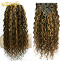 Veravicky Natural Curly 140G Clip In Hair Extensions Machine Made Remy Human Hair Head Set Clip ins