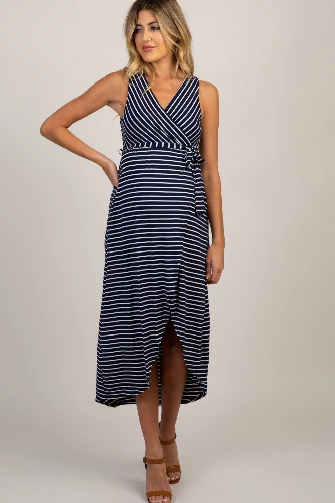 Casual Maternity Nursing Dress with Stripe Womens Neck Round Clothing Maternity Dress Sleeveless Maternity Clothes Breastfeeding Night Dress Pregnant Summer Maxi Dress