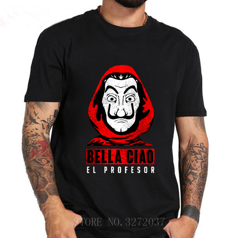 Moda la Casa de Papel professor t-shirt Criativo harajuku hip hop t camisa dos homens do projeto Da Casa de Papel Tshirt camisetas