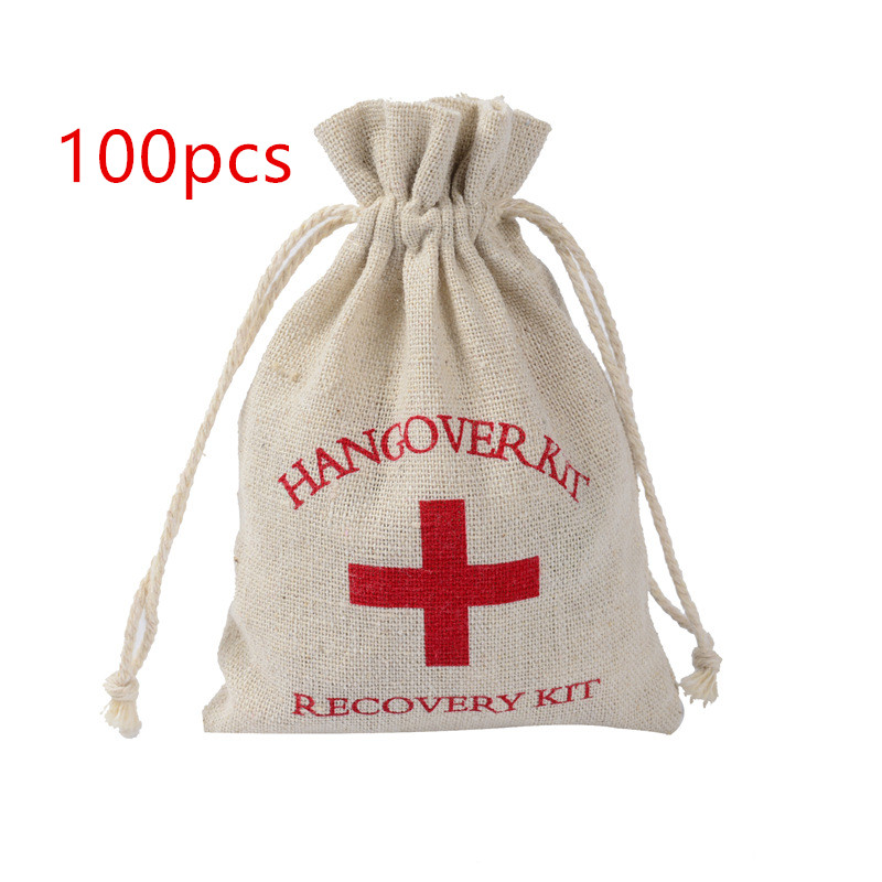 100pcs 10*14cm Cotton Wedding Hangover Kit Bags For Hen Parties Hangover Recovery Kit Party Favor Gift Bags