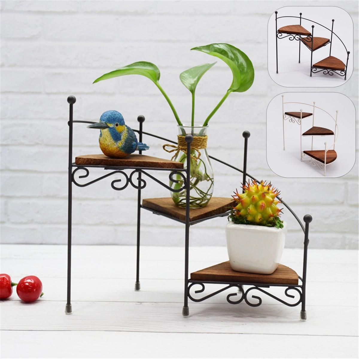 3 katmanlı Retro demir tesisi raf standı bitki etli raf merdiven masaüstü bahçe çiçek standı ahşap plaka ile ev dekoratif