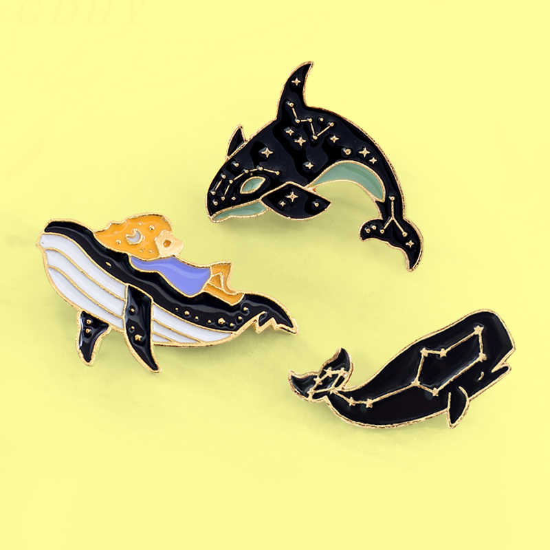 Cartoon Whale Dolphin kid Shark Brooch Pins Animal Fish Enamel pin Badges For women kids Lapel fashion jewelry Spille Bijoux